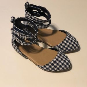 Navy & White Gingham ankle strap flats